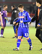 Notts County goal scorer Filip Valenčič celebrates at the final whistle after the Sky Bet League 2 match between Crawley Town and Notts County at the Checkatrade.com Stadium, Crawley, England on 16 January 2016. Photo by David Charbit.