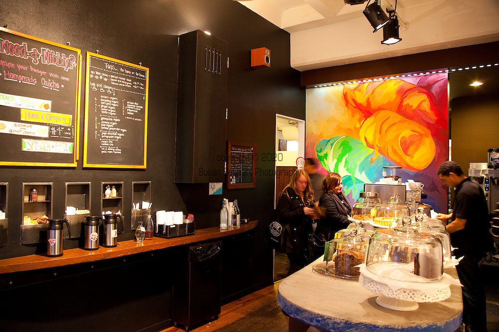 Baked and Wired, a bakery and coffee and tea house in Georgetown, Washington, DC, offers up home made desserts and gourmet coffee.  Pictured here is the coffee bar half of the space