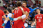 Poland, Krakow - 2017 September 03: Dmitrii Volkov and Maxim Mikhailov both from Russia celebrate victory in the final match between Germany and Russia during Lotto Eurovolleyball Poland 2017 - European Championships in volleyball at Tauron Arena on September 03, 2017 in Krakow, Poland.<br /> <br /> Mandatory credit:<br /> Photo by &copy; Adam Nurkiewicz<br /> <br /> Adam Nurkiewicz declares that he has no rights to the image of people at the photographs of his authorship.<br /> <br /> Picture also available in RAW (NEF) or TIFF format on special request.<br /> <br /> Any editorial, commercial or promotional use requires written permission from the author of image.