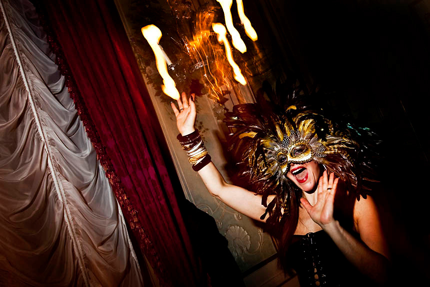 Masked revellers attend a ballroom party at Baglioni Hotel  during the fisr day of the Venetian Carnival in Venice.