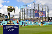 The ICC Cricket World Cup trophy at the Oval with the gas holder behind ahead of the ICC Cricket World Cup 2019 match between Sri Lanka and Australia at the Oval, London, United Kingdom on 15 June 2019.
