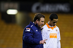 Blackpool caretaker Manager Steve Thompson (ENG) talks to double goalscorer and Liverpool target Thomas Ince (ENG) after their sides victory in the match - Photo mandatory by-line: Rogan Thomson/JMP - Tel: Mobile: 07966 386802 26/01/2013 - SPORT - FOOTBALL - Molineux Stadium - Wolverhampton. Wolverhampton Wonderers v Blackpool - npower Championship.