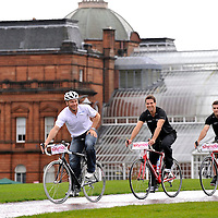 SkyRide Glasgow, an event to promote cycling at Glasgow Green..Chris Hoy, Gethin Jones, Ross Edgar.