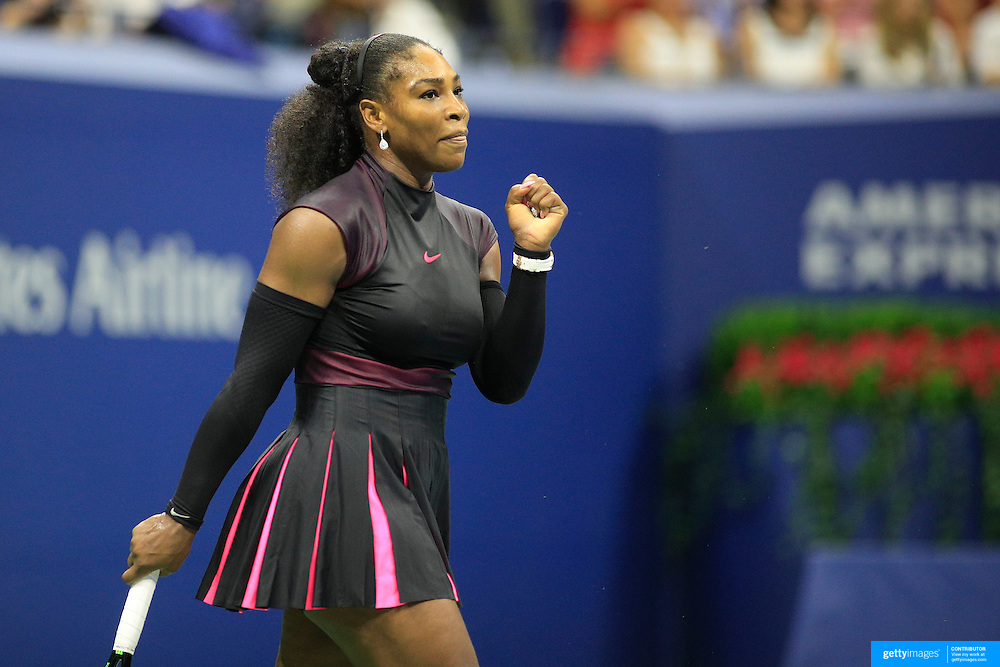 2016 U.S. Open - Day 10  Serena Williams of the United States in action against Simona Halep of Romania in the Women's Singles Quarterfinal match on Arthur Ashe Stadium on day ten of the 2016 US Open Tennis Tournament at the USTA Billie Jean King National Tennis Center on September 7, 2016 in Flushing, Queens, New York City.  (Photo by Tim Clayton/Corbis via Getty Images)