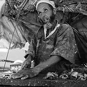Des dorades, du pageot royal et des maquereaux. Devant la baie d'Imsouane, ce marchand, un des plus vieux du village, vend du poisson frais aux habitants depuis près de 20 ans.