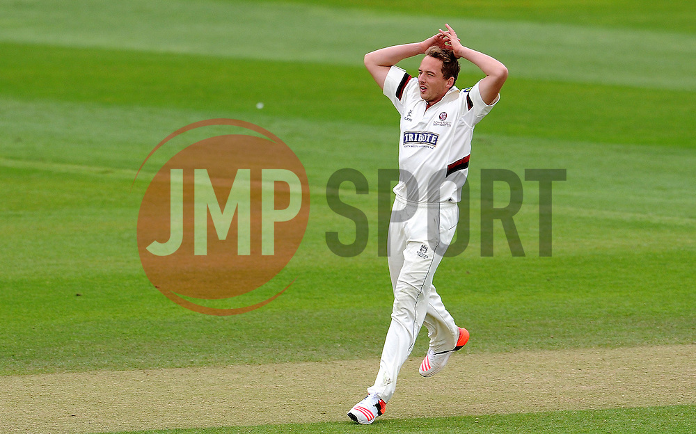 Dejection for Somerset's Josh Davey. Photo mandatory by-line: Harry Trump/JMP - Mobile: 07966 386802 - 10/05/15 - SPORT - CRICKET - Somerset v New Zealand - Day 3- The County Ground, Taunton, England.