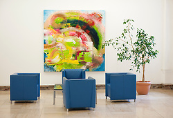 Art on walls in corridor of historic Finance Ministry or Bundesministerium der Finanzen in Mitte Berlin Germany