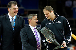 Arvydas Sabonis with Olafur Rafnsson - FIBA Europe president  giving basketball shoes to Radoslav Nesterovic (R)  as promotion of Eurobasket Slovenia 2013 during final basketball game between National basketball teams of Spain and France at FIBA Europe Eurobasket Lithuania 2011, on September 18, 2011, in Arena Zalgirio, Kaunas, Lithuania. (Photo by Vid Ponikvar / Sportida)