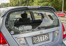 March 15, 2019 - Christchurch, Canterbury, New Zealand - A car near the Masjid Al Noor mosque that had its back window shot out by a gunman after a shooting at the mosque. It was one of two mosques where gunmen attacked and where numerous people are feared dead and injured. Four people have been arrested and several bombs were found following the shootings. (Credit Image: © PJ Heller/ZUMA Wire)