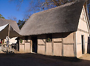 17th century fort building with thatched roof; Jamestown Settlement