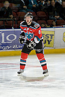 KELOWNA, CANADA, NOVEMBER 30: Colten Martin #8 of the Kelowna Rockets stands on the ice as the Tri City Americans visit the Kelowna Rockets  on November 30, 2011 at Prospera Place in Kelowna, British Columbia, Canada (Photo by Marissa Baecker/Shoot the Breeze) *** Local Caption *** Colten Martin;