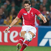 James Hook, Wales, kicks a penalty during the Australia V Wales Bronze Final match at the IRB Rugby World Cup tournament, Auckland, New Zealand. 21st October 2011. Photo Tim Clayton...