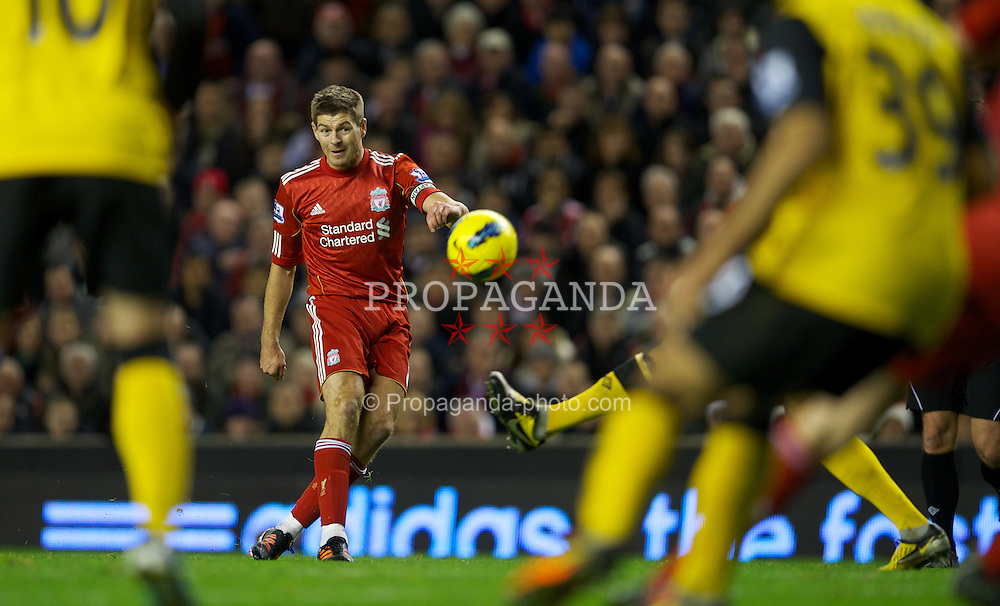 LIVERPOOL, ENGLAND - Boxing Day Monday, December 26, 2011: Liverpool's captain Steven Gerrard in action against Blackburn Rovers during the Premiership match at Anfield. (Pic by David Rawcliffe/Propaganda)