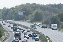 &copy; Licensed to London News Pictures.  30/09/2017; Wiltshire, UK. Scene of crash between a lorry and a car which closed the M4 westbound in Wiltshire. Two people were injured in the incident at 05:00 BST near junction 17 at Leigh Delamere and have been taken to hospital. It is not yet known how severely they were hurt,<br /> Highways England is reporting that the M4 westbound between J17 (Chippenham) and J18 (Bath) will be closed until at least 4.30pm. A separate accident at junction 15 near Marlborough has also closed two lanes and diversions are in place. Picture credit : Simon Chapman/LNP