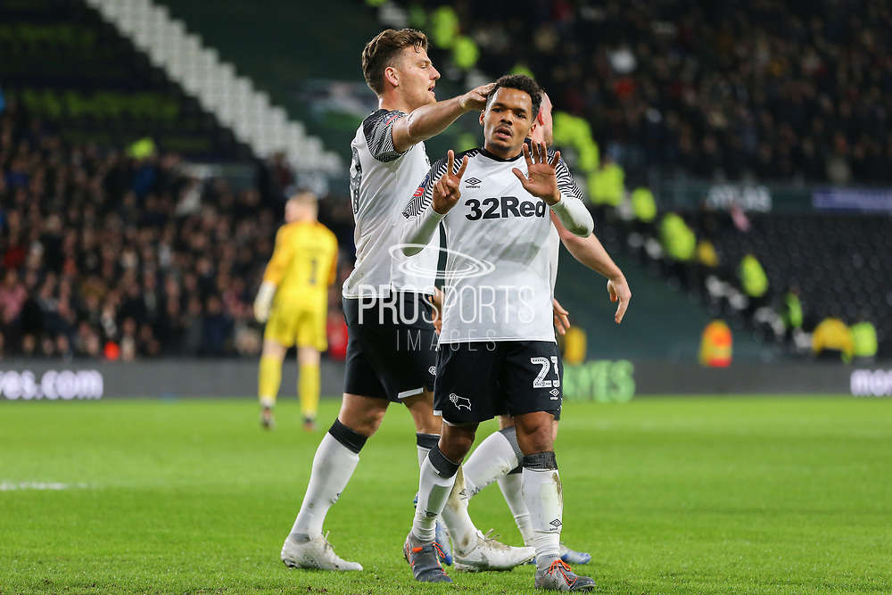 Derby County midfielder Duane Holmes (23) celebrates after scoring during the The FA Cup match between Derby County and Northampton Town at the Pride Park, Derby, England on 4 February 2020.