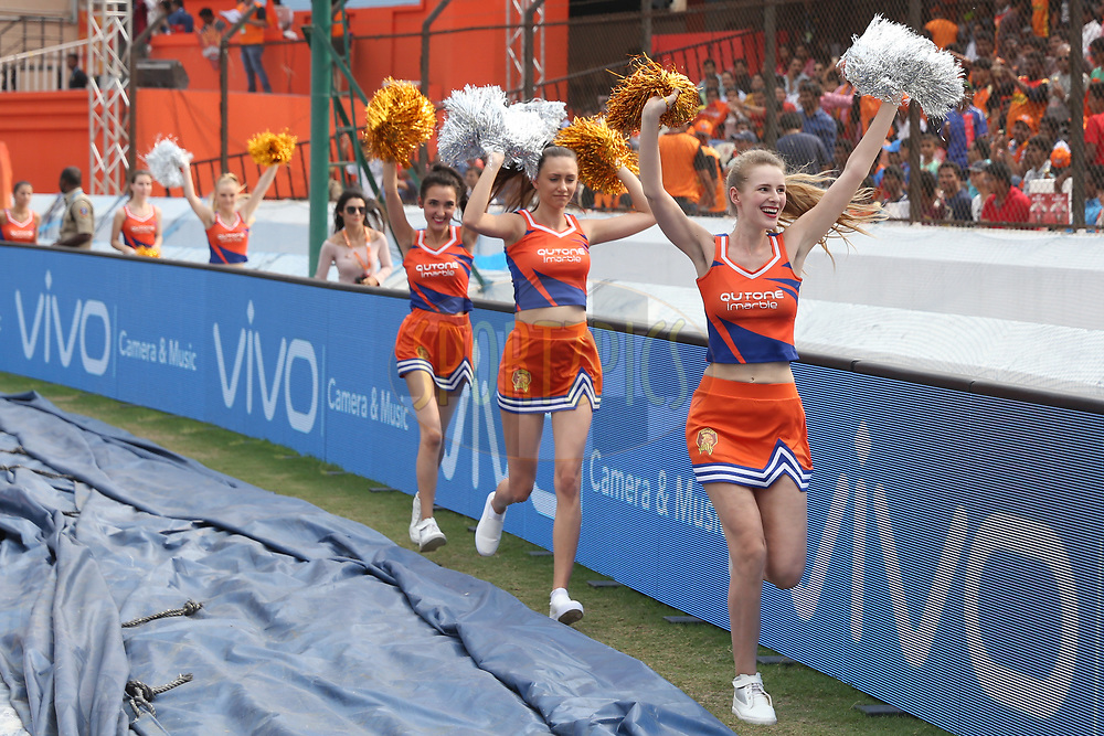 Gujarat Lions cheerleaders during match 6 of the Vivo 2017 Indian Premier League between the Sunrisers Hyderabad and the Gujarat Lions held at the Rajiv Gandhi International Cricket Stadium in Hyderabad, India on the 9th April 2017<br /> <br /> Photo by Faheem Hussain - IPL - Sportzpics
