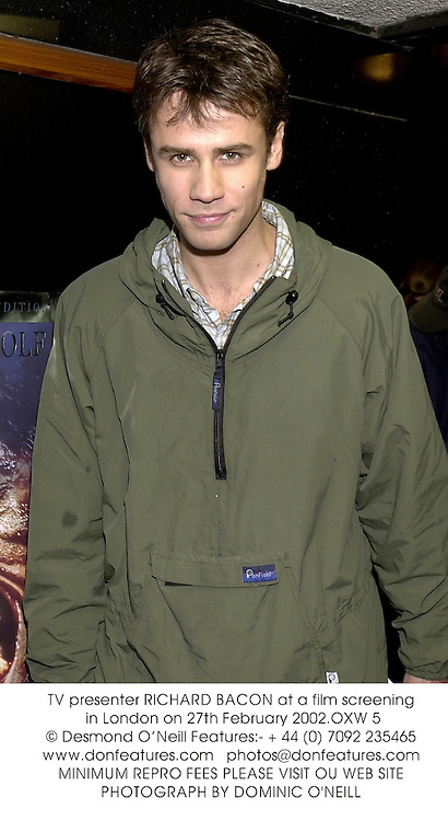 TV presenter RICHARD BACON at a film screening in London on 27th February 2002.OXW 5
