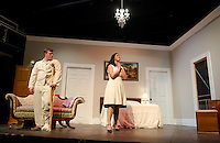 "Brick (David T. Bleiler) and Maggie (Jamie M. Clavet) during a dress rehearsal scene for ""Cat On a Hot Tin Roof"" with the Winnipesaukee Playhouse on Tuesday evening.  (Karen Bobotas/for the Laconia Daily Sun)"
