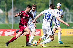 Bojic Momir of NK Triglav and Kristijan Sipek of ND Gorica and Matija Kavcic of ND Gorica  during Football match between NK Triglav Kranj and ND Gorica in 30th Round of Prva liga Telekom Slovenije 2018/19, on May 2nd, 2019, in Sports park Kranj, Slovenia. Photo by Grega Valancic / Sportida