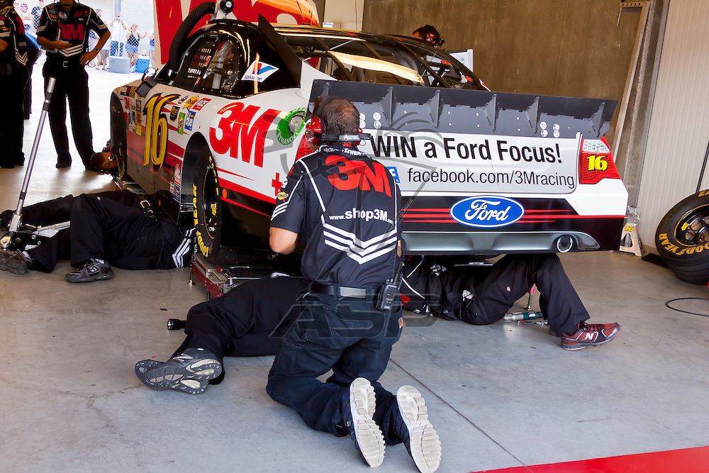 INDIANPOLIS, IN - JUL 28, 2012:  Greg Biffle (16) and crew prepare their car for a practice session for the Curtiss Shaver 400 presented by Crown Royal at the Indianapolis Motor Speedway in Indianapolis, IN.