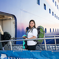 Student Kimberly Selinske from Colorado State University boards the MV Explorer through the 2nd deck gangway on Embarkation day for the Semester at Sea Spring 2014 Voyage, January 10th 2014, in Ensenada, Mexico.