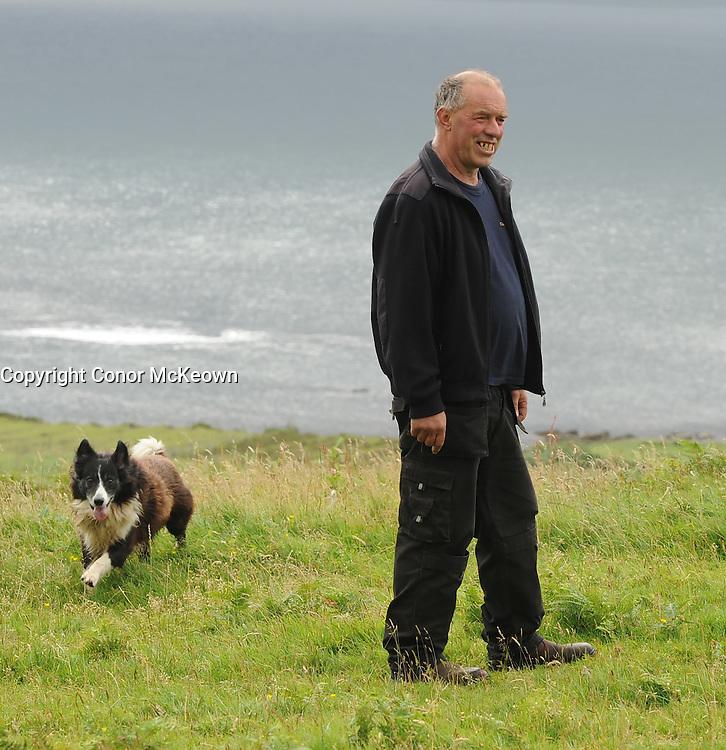 Joe O'Malley Clare Island farmer, pictured on his farm, August 2016.<br />Pic Conor McKeown