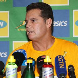 DURBAN, SOUTH AFRICA - AUGUST 16: Rassie Erasmus (Head Coach) of South Africa during the South African national rugby team announcement at  Garden Court Umhlanga on August 16, 2018 in Durban, South Africa. (Photo by Steve Haag/Gallo Images)