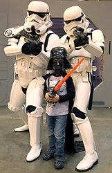 29 Jan 2012. New Orleans, Louisiana USA. .Wizard World New Orleans Comic Con at the Ernest N Morial Convention Center. .Ben Varley (5 yrs) at the show with his favorite Star Wars characters..Photo; Charlie Varley