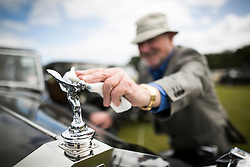 © Licensed to London News Pictures. 07/08/2016. Leeds UK. Picture shows Phil Hayward polishing the Spirit of Ecstacy on his 2025 Rolls Royce at the 37th Rolls Royce North rally that has taken place this weekend in the ground's of Harewood House in Yorkshire. The event bring's together some of the UK's most prized motor cars & their proud owners. Photo credit: Andrew McCaren/LNP