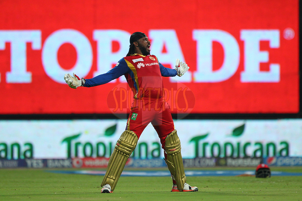 Chris Gayle of the Royal Challengers Bangalore celebrates his century off 46 balls during match 40 of the Pepsi IPL 2015 (Indian Premier League) between The Royal Challengers Bangalore and The Kings XI Punjab held at the M. Chinnaswamy Stadium in Bengaluru, India on the 6th May 2015.<br /> <br /> Photo by:  Ron Gaunt / SPORTZPICS / IPL
