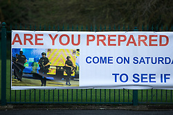 "© Licensed to London News Pictures . 19/01/2018 . Manchester , UK . A banner hung from railings in front of The Church of Jesus Christ of Latter-day Saints on the A560 Altrincham Road in Wythenshawe which references Salman Abedi's murderous terror attack on the Manchester Arena with the use of a photograph from the scene of the attack , alongside the words "" Are you prepared for possible disaster "" and the logo of the I Love Mcr charity . The banner features an invitation to visit the church "" To see if we can help"" . Photo credit : Joel Goodman/LNP"