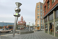 Sculpture (Sentinel by Seattle artist Ellen Sollod) in downtown Bellingham Washington, Whatcom Museum of History and Art is in the background