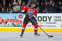 KELOWNA, CANADA - DECEMBER 3: Lucas Johansen #7 of the Kelowna Rockets looks for the pass against the Brandon Wheat Kings on December 3, 2016 at Prospera Place in Kelowna, British Columbia, Canada.  (Photo by Marissa Baecker/Shoot the Breeze)  *** Local Caption ***