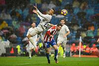 Real Madrid's player Danilo Luiz Da Silva and Sporting de Gijon's player Moi Gonzalez during match of La Liga between Real Madrid and Sporting de Gijon at Santiago Bernabeu Stadium in Madrid, Spain. November 26, 2016. (ALTERPHOTOS/BorjaB.Hojas)