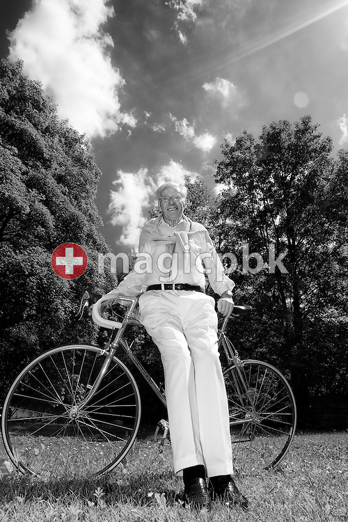 The cyclist legend Ferdy (aka Ferdinand, Ferdi) KUEBLER (born 24 July 1919) of Switzerland is pictured with his road bike (racing bicycle) in the backyard of his apartment in Birmensdorf, Switzerland, Saturday, May 28, 2011. (Photo by Patrick B. Kraemer / MAGICPBK)