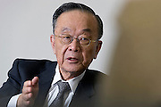 Akira Mori, president and CEO of the Mori Trust Co., speaks during an interview at the company's headquarters in Tokyo, Japan, on Thursday, May 19, 2011. Photographer: Robert Gilhooly