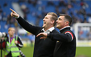 Milton Keynes Dons manager Karl Robinson and Milton Keynes Dons head of coaching Richie Barker during the Sky Bet Championship match between Brighton and Hove Albion and Milton Keynes Dons at the American Express Community Stadium, Brighton and Hove, England on 7 November 2015.
