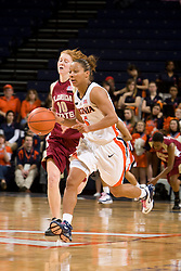 Virginia guard Sharnee Zoll (5) dribbles up court against FSU.  The Virginia Cavaliers women's basketball team defeated the Florida State Seminoles 77-58 at the John Paul Jones Arena in Charlottesville, VA on February 10, 2008.