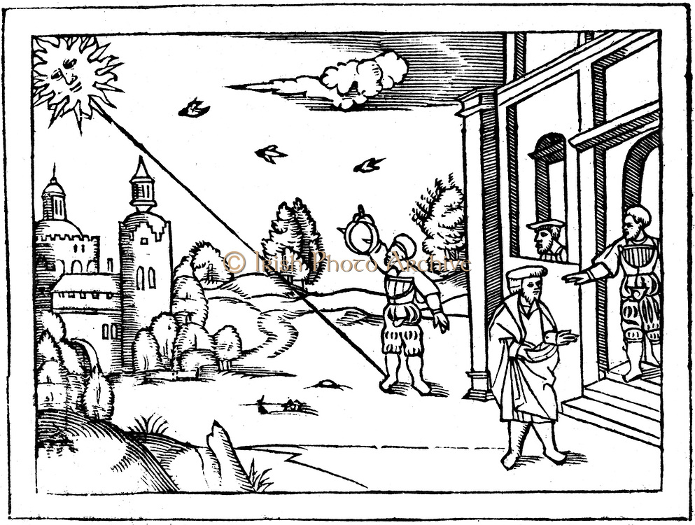Measuring the altitude of the sun with ring dials. From Peter Apian 'Cosmographia', Antwerp, 1539