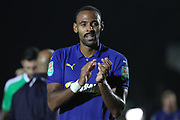 AFC Wimbledon midfielder Liam Trotter (14) clapping during the EFL Carabao Cup 2nd round match between AFC Wimbledon and West Ham United at the Cherry Red Records Stadium, Kingston, England on 28 August 2018.
