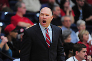 November 28, 2011; Moraga, CA, USA; Saint Mary's Gaels head coach Randy Bennett reacts during the first half of the Shamrock Office Solutions Classic championship game against the Weber State Wildcats at McKeon Pavilion. The Gaels defeated the Wildcats 87-70.