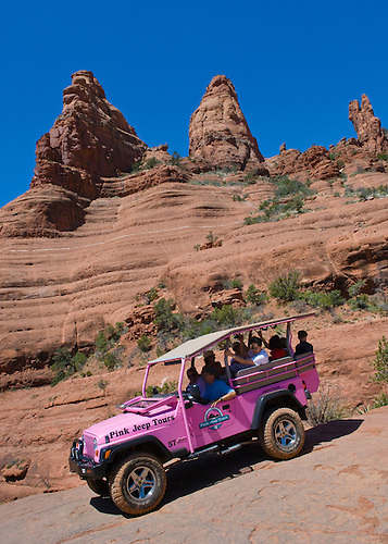 Pink Jeep Tours Near Chicken Point On Their Broken Arrow Tour; Sedona,  Arizona.