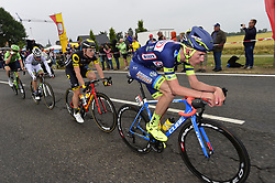July 2, 2017 - Liege, Belgique - LIEGE, BELGIUM - JULY 2 : PHINNEY Taylor (USA) Rider of Cannondale - Drapac team, PICHON Laurent (FRA) Rider of Fortuneo - Vital Concept, BOUDAT THOMAS (FRA) Rider of Direct Energie, OFFREDO Yoanne (FRA) Rider of Wanty - Groupe Gobert during stage 2 of the 104th edition of the 2017 Tour de France cycling race, a  stage of 203 kms between Dusseldorf and Liege on July 02, 2017 in Liege, Belgium, 2/07/2017 (Credit Image: © Panoramic via ZUMA Press)