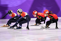 PYEONGCHANG, Feb. 10, 2018  China's Qu Chunyu (1st R) and Zhou Yang (2nd R) compete during the women's 3000m relay heat of short track speed skating event of 2018 PyeongChang Winter Olympic Games at Gangneung Ice Arena, South Korea, Feb. 10, 2018. China advanced to the final in a time of 4:05.315 and set a new Olympic record of the event. (Credit Image: © Ju Huanzong/Xinhua via ZUMA Wire)