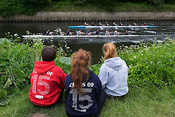 © Licensed to London News Pictures.13/06/15<br /> Durham, England<br /> <br /> Three girls watch the rowing during the 182nd Durham Regatta rowing event held on the River Wear. The origins of the regatta date back  to commemorations marking victory at the Battle of Waterloo in 1815. This is the second oldest event of this type in the country and attracts over 2000 competitors from across the country.<br /> <br /> Photo credit : Ian Forsyth/LNP