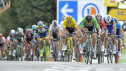 July 11, 2018 - Quimper, FRANCE - Slovak Peter Sagan of Bora-Hansgrohe (R) pictured as he wins the fifth stage of the 105th edition of the Tour de France cycling race, from Lorient to Quimper (204,5 km), in France, Wednesday 11 July 2018. This year's Tour de France takes place from July 7th to July 29th...BELGA PHOTO YORICK JANSENS - FRANCE OUT (Credit Image: © Yorick Jansens/Belga via ZUMA Press)