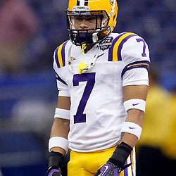 Jan 9, 2012; New Orleans, LA, USA; LSU Tigers cornerback Tyrann Mathieu (7) warms-up before the 2012 BCS National Championship game against the Alabama Crimson Tide at the Mercedes-Benz Superdome.  Mandatory Credit: Derick E. Hingle-US PRESSWIRE