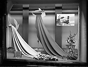 20/09/1960<br /> 09/20/1960<br /> 20 September 1960<br /> Switzers window displays on Grafton Street, Dublin. Wool Time materials window display for Robert Dawson Studios.