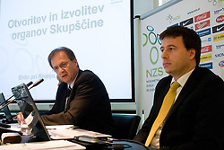 Ivan SImic and Ales Zavrl of NZS at General Assembly of Slovenian Football Federation NZS due to it's 90-years Anniversary , on April 24, 2010, in Kongresni center Brdo, Brdo pri Kranju, Slovenia. (Photo by Vid Ponikvar / Sportida)