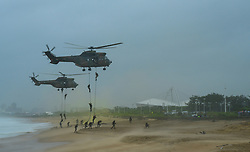 DURBAN, Feb. 21, 2017  South African National Defence Force (SANDF) members conduct a beach landing operation during a military drill marking the Armed Forces Day in Durban, South Africa, on Feb. 21, 2017. South Africa celebrated its Armed Forces Day here on Tuesday.  gl) (Credit Image: © Zhai Jianlan/Xinhua via ZUMA Wire)